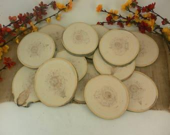 "Sanded Aspen tree slices- 4"" big wooden craft discs/tree cookies/wood blanks"