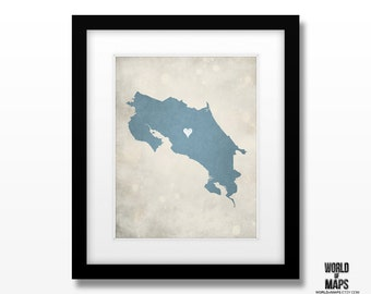 Costa Rica Map Print - Home Town Love - Personalized Art Print Available in Multiple Size and Color Options