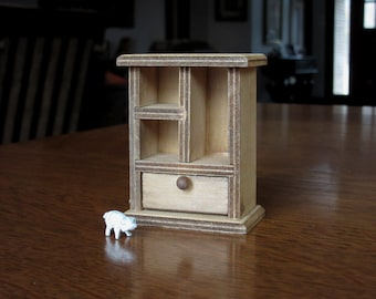 Vintage Doll House Country Cabinet, Wood Hutch, Rustic Dollhouse Furniture,  Shelves, Natural, Farmhouse, General Store, Miniature Storage