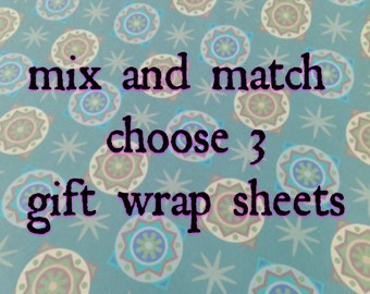 Choose 3 mix and match Wrapping Paper Sheets, your choice, assorted gift wrap, 3 sheets, 26-29x20 inches each, shipped rolled in tube