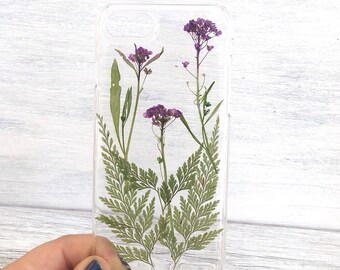 Pressed flower iphone 7 case, pressed flower iphone case, floral cases for iphone, real flower iphone, cute case, dried flower iphone case