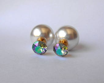 Double ball earrings, White double sided earrings, Tribal earrings, White pearl earrings