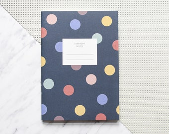 Polka dots notebook, dotted notebook, excercise book, notebook A5, jotter notebook, blank journal, blank notebook, blank book
