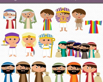 Bible Clipart - Joseph and His Colorful Coat Kids Clipart Digital Art Set Commercial Use Clip Art INSTANT Download Christian Clipart