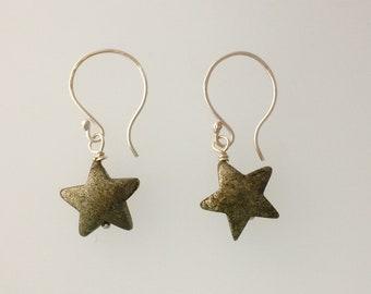 Pyrite golden star earrings