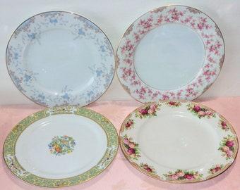 Vintage Mismatched Plates 4 Fancy Dinner Fine China Gold Floral Roses Elegant
