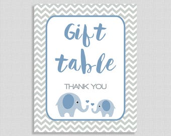 Gift Table Party Sign, Blue Elephant Baby Shower Sign, Grey Chevron,  Baby Boy, INSTANT PRINTABLE