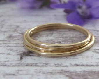 Thin Gold Ring - 9ct Yellow Gold - Hammered - Skinny Gold Ring - Yellow Gold Ring - Thin 9ct Yellow Gold Ring