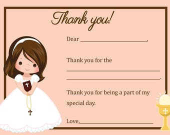 First Communion Thank You Card  - Digital file - You print