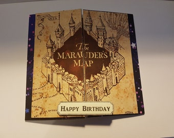 Handmade Harry Potter Inspired The Marauders Map Birthday Card - Hogwarts