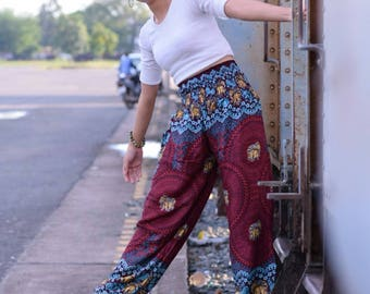 Red Flower pants Hippie pants Harem pants women Yoga pants Festival pants Gold Elephant pants Gypsy pants