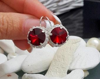 SALE! Ruby Red earrings,  Ruby Swarovski Dangle earrings, Bridesmaids jewelry, Wedding jewelry, Gift for her, Sterling silver earrings