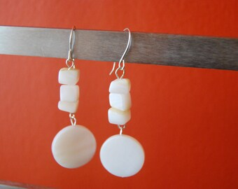 Mother of Pearl Coin Dangling Earrings