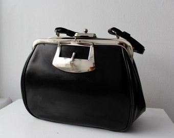 Black Faux Leather Vintage Cara Hand Bag Purse