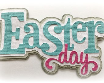easter day  title  premade paper piecing 3d die cut by my tear bears kira
