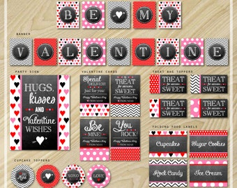 Valentine's Day - Chalkboard Party Package - Printable Valentine Card