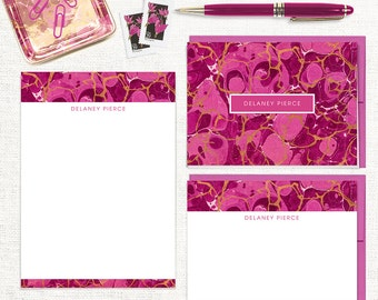 complete personalized stationery set - vintage marble paper DELANEY MAGENTA - note cards - notepad - custom stationary - colorful