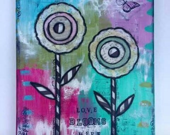 CLEARANCE SALE Love Blooms Here Mixed Media Original Art Canvas 11x14 // Ready to Ship // Gift Idea