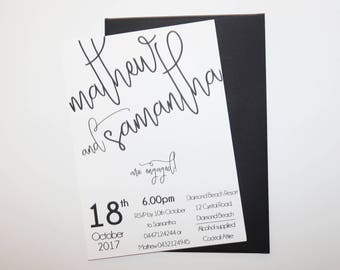 Engagement Party Invite with envelope Handmade Personalised Save the Date