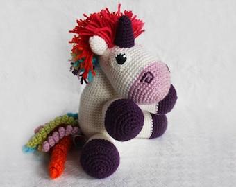 Cuddly crochet version Rainbow Unicorn