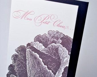 My Little Cabbage Letterpress Card