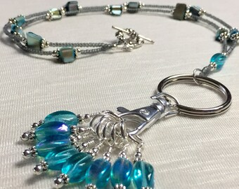 Turquoise Stitch Marker Lanyard Necklace   Knitting Jewelry   Snag Free Gift for Knitters