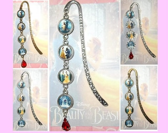BEAUTY and the BEAST Pendant Bookmark - You Choose Style Book Mark Silver Flowers Gold Bronze Disney 2017 Movie Emma Watson & Belle Rose
