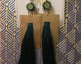 Unique tassel and brass earrings