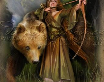Sabine.. Print...Medieval Woman Archer Protecting Bear... Celtic Pagan Fantasy Art