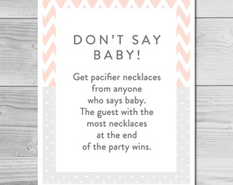 Chevron Peach and Gray Baby Shower Game - Don't Say Baby - Instant Download Printable - Baby Girl