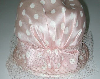 No. 700 Mr. John Hat from the 50's Baby Pink Polka Dot Silk. . Box Included (Complimentary to Polka Dot Dress on Another Listing)