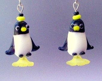 Penguin earrings, lampwork glass, black and white animal earrings, Happy Feet