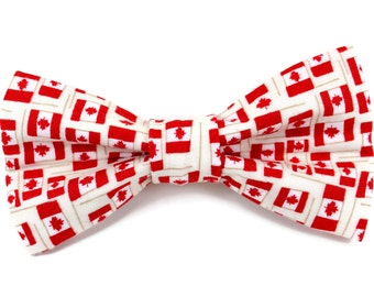 Canadian Flag Dog Bow Tie  | Removable Dog Bow Tie | Maple Leaf Dog Bow Tie | Dog Bow Tie | Canada Pride Dog Bow Tie