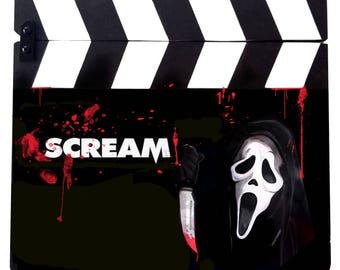 Scream, hand painted movie clapper board