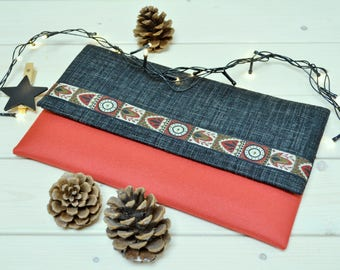 Red evening clutch - Women evening bag - Bridesmaid clutch - Waterproof clutch - Vegan purse - Folded over clutch - Evening bag