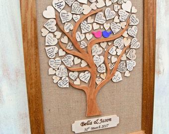 Wedding Tree Guest Book, Alternative Guest Book, Message Tree With Frame, Guest Message Tree Idea, Heart Guest book