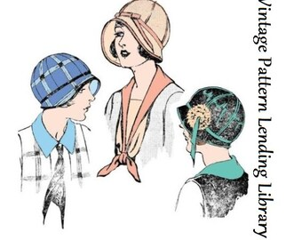 1924 Ladies Cloche Hat with Ribbon Trim - Reproduction Sewing Pattern #H7473