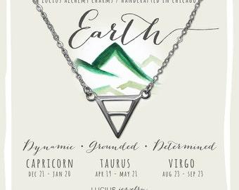 Alchemy Jewelry, Alchemy Necklace, Alchemy Symbols, Capricorn Necklace, Taurus Necklace, Virgo Necklace, EARTH ALCHEMY CHARM Necklace.