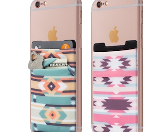 Two Stretchy Cell Phone Stick On Wallet Card Holder Phone Pocket For iPhone, Android and all smartphones. (Aztec)