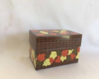 Vintage Autumn Leaves Recipe Box