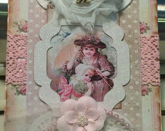 Shabby Birthday Card, Vintage Style, Handmade Card, Embellished Card,Greeting Card, OOAK
