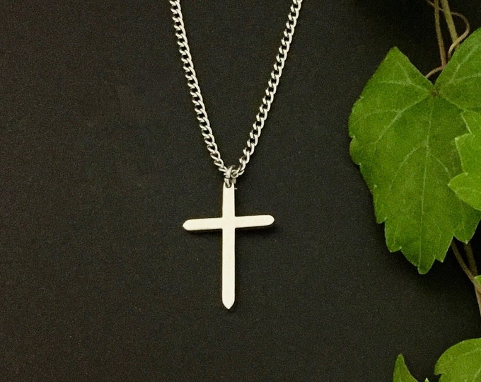 Small stainless steel cross necklace, Gift for him, Gift for her, Scripture Proverbs 3:5-6 Trust