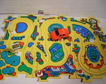 Vehicle Puzzle Car Wind-up Play Set Car Track Vintage  #Ty31