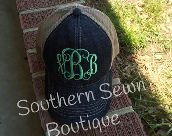 Ladies Monogrammed Denim Trucker Hat