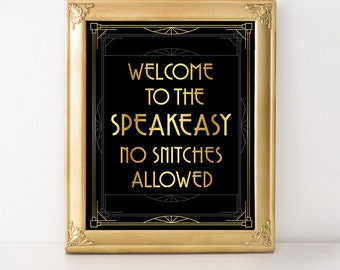 Speakeasy Sign for Bar, Printable Sign, Digital Download, Great Gatsby, Bar Sign, Roaring 20s, Art Deco Wedding, Wedding Decor, Funny Sign