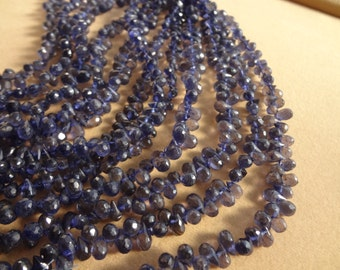 Natural Iolite Briolette Faceted Drops 5-6 mm 40 pcs AAA Quality