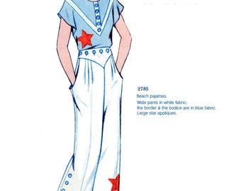 1932 Summer Beach Pajamas Pattern - Eclair Coupe Paris