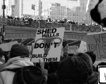B&W #Photograph, #Resist, #nastywomen, #whyImarch, New York, feminist, photo print, wall art, home decor, she persisted, Shed Walls