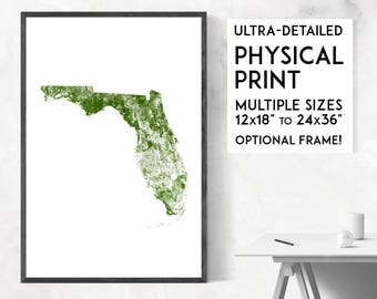 Forests of Florida poster print | Physical Florida map print, Florida print, USA map, Florida art, Florida map art, Florida wall art print
