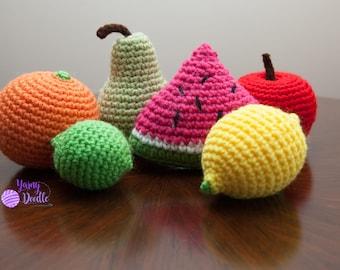 Set of 6 Crochet Playfood, Amigurumi Fruit